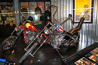 Replicas of the Captain America bike and Billy Bike at the Harley-Davidson Museum in Milwaukee