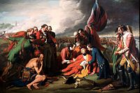 Benjamin West's The Death of General Wolfe (1771) dramatizes James Wolfe's death during the Battle of the Plains of Abraham at Quebec.