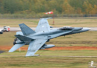 A Canadian CF-18 Hornet in Cold Lake, Alberta. CF-18s have supported NORAD air sovereignty patrols and participated in combat during the Gulf War and the Kosovo and Bosnia crisis.