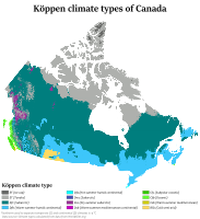 Köppen climate classification types of Canada