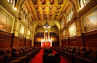 The Senate chamber within the Centre Block on Parliament Hill