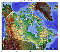 A topographic map of Canada, in polar projection (for 90° W), showing elevations shaded from green to brown (higher)