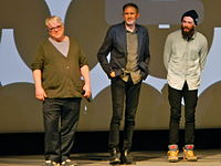 Hoffman, Anton Corbijn and Grigoriy Dobrygin promoting A Most Wanted Man at the Sundance Film Festival on January 19, 2014, less than two weeks before his death