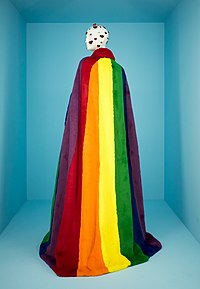 Rainbow cape by Christopher Bailey for Burberry on display in The Met's exhibit Camp: Notes on Fashion