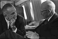 President Lyndon Johnson with Eisenhower aboard Air Force One in October 1965