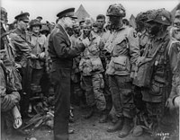 Eisenhower speaks with men of the 502nd Parachute Infantry Regiment, part of the 101st Airborne Division, on June 5, 1944, the day before the D-Day invasion.