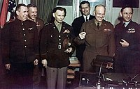 Eisenhower with Allied commanders following the signing of the German Instrument of Surrender at Reims