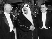 Eisenhower and Vice President Richard Nixon with their host, King Saud of Saudi Arabia, at the Mayflower Hotel (1957)
