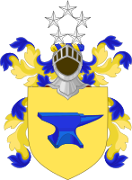 """The coat of arms granted to Eisenhower upon his incorporation as a knight of the Danish Order of the Elephant in 1950. The anvil represents the fact that his name is derived from the German for """"iron hewer"""", making these an example of canting arms."""