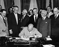 Eisenhower signs the legislation that changes Armistice Day to Veterans Day, June 1, 1954