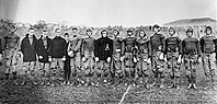 Eisenhower (third from left) and Omar Bradley (second from right) were members of the 1912 West Point football team.