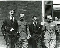 Eisenhower (far right) with three friends (William Stuhler, Major Brett, and Paul V. Robinson) in 1919, four years after graduating from West Point