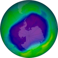 Image of the largest Antarctic ozone hole ever recorded due to CFCs accumulation (September 2006)