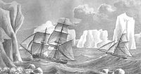 Painting of James Weddell's second expedition in 1823, depicting the brig Jane and the cutter Beaufoy