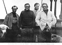 Nimrod Expedition South Pole Party (left to right): Wild, Shackleton, Marshall and Adams