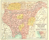 Map of Eastern Bengal and Assam during 1907–1909