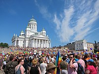 People gathering at the Senate Square, Helsinki, right before the 2011 Helsinki Pride parade started