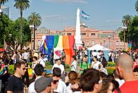 2010 pride parade in Plaza de Mayo, Buenos Aires, which uses the LGBTIQ initialism.