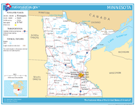 Map of Minnesota, showing roads and major bodies of water