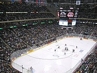 The University of North Dakota and St. Cloud State University during the WCHA Final Five at the Xcel Energy Center