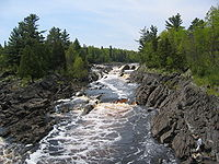 Tilted beds of the Middle Precambrian Thomson Formation in Jay Cooke State Park