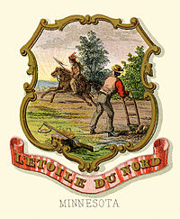 The historical coat of arms of Minnesota in 1876