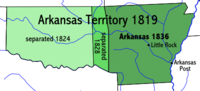 Progression of the Indian Territory separation from the Arkansaw Territory, 1819–1836