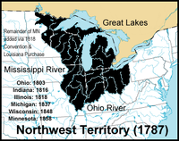 The Northwest Territory was a large and (at times) ill-defined territory ceded by Great Britain to the U.S. at the end of the Revolutionary War. British troops still occupied parts of the area well past 1800.