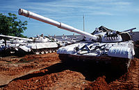 Indian T-72 armored tanks in Somalia, as part of the UN peacekeeping mission