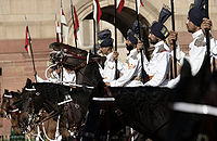 The mounted President's Bodyguard during a state visit by a foreign dignitary