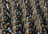 Soldiers of the Madras Regiment during a Republic Day Parade