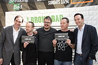 From left to right: Josh Sapan (AMC president and CEO), Aaron Paul (Jesse Pinkman), Vince Gilligan (creator), Bryan Cranston (Walter White) and Charlie Collier (President, general manager)