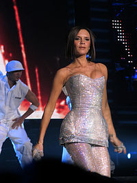 Beckham performing with the Spice Girls in Las Vegas in December 2007