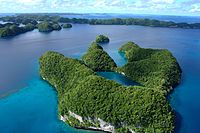 An aerial view of limestone islands.