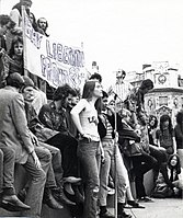 A Gay Liberation march in London, UK, ca. 1972. A Gay Liberation Front banner is visible. Location is believed to be Trafalgar Square.