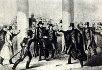 Richard Lawrence's attempt on Jackson's life, as depicted in an 1835 etching