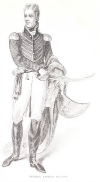 General Andrew Jackson as pictured in Harper's Magazine, Vol 28, War with the Creek Indians, page 605, 1864