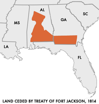 In the Treaty of Fort Jackson, the Muscogee surrendered large parts of present-day Alabama and Georgia.