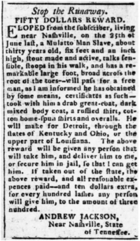 Notice of reward offered by Jackson for return of an enslaved man