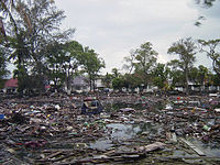 The aftermath of the 2004 Indian Ocean earthquake and tsunami in Banda Aceh. It is the deadliest natural disaster ever to hit Indonesia.