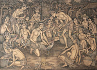 Traditional Balinese painting depicting cockfighting