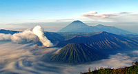 Mount Semeru and Mount Bromo in East Java. Indonesia's seismic and volcanic activity is among the world's highest.