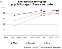 UIS adult literacy rate of Syria