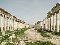 The ancient city of Apamea, an important commercial center and one of Syria's most prosperous cities in classical antiquity