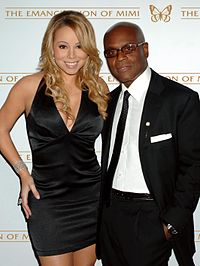 Carey, pictured with former Island Records head L.A. Reid in 2005, at the release party for The Emancipation of Mimi