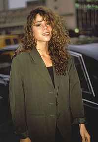 """Carey exiting Shepherd's Bush Empire after promoting her single """"Vision of Love"""" on Wogan in 1990"""