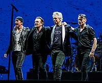 U2 in November 2019 (from left to right): The Edge, Bono, Clayton, Mullen