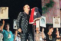 """U2 performing """"Mothers of the Disappeared"""" in Chile in 1998 with the families of Detenidos Desaparecidos. The song was written as a tribute to the women whose children were killed or forcibly disappeared at the hands of the Pinochet dictatorship."""