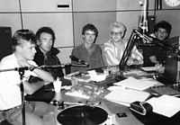 U2 with radio host Dave Fanning (center) in February 1982