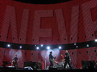 The outdoor stage of the Vertigo Tour, pictured in June 2005, featured a massive LED screen.
